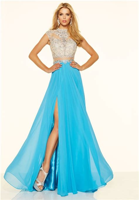beaded two prom dress a line cap sleeve high slit blue chiffon beaded two