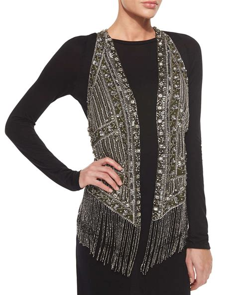 Haute Hippie Embroidered Beaded Vest In Silver Gunmetal