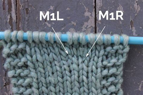 left increase knitting make 1 knitting increase m1 m1l and m1r tutorial