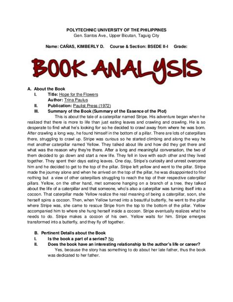 picture book analysis for the flowers book analysis