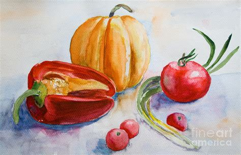acrylic painting vegetables watercolor vegetables painting by jershova