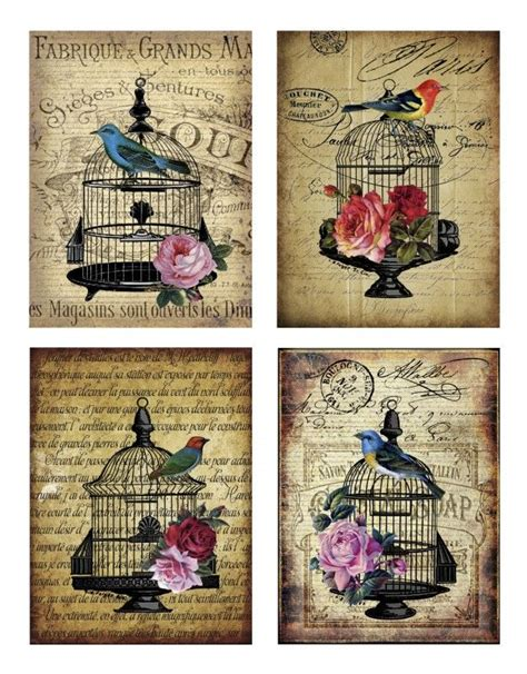 decoupage printables sheet vogels nostalgie dieren nostalgie brocante
