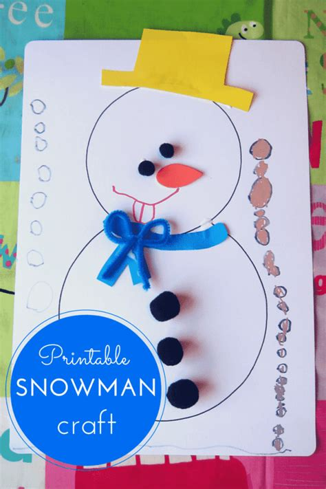 free printable crafts for printable snowman craft for