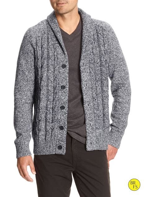 cable knit cardigan banana republic factory cable knit cardigan in gray for