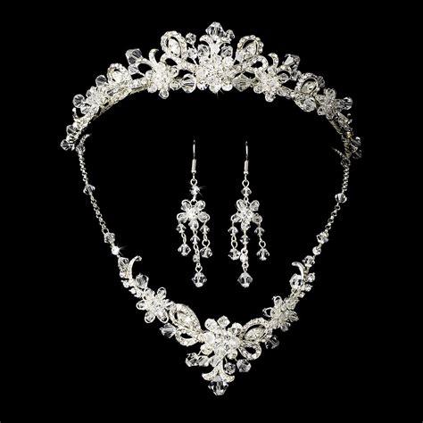 jewelry crystals silver bridal jewelry set and tiara of swarovski