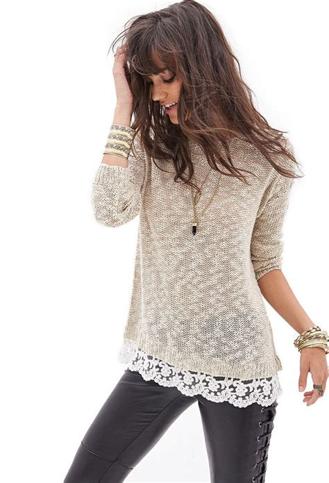 knit top sweater lace trimmed open knit sweater f21statementpiece tops