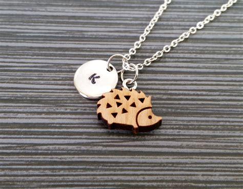 wooden necklace wooden hedgehog necklace hedgehog charm necklace