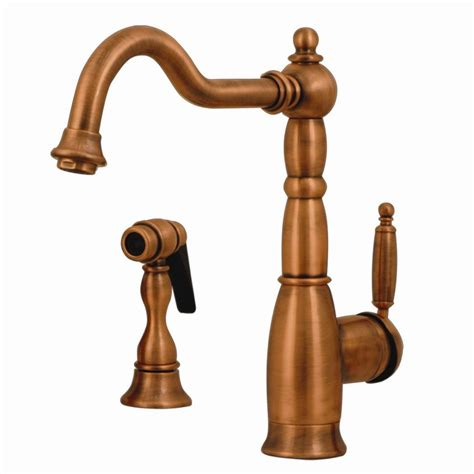 antique copper kitchen faucets shop whitehaus collection essexhaus antique copper 1 handle deck mount high arc kitchen faucet