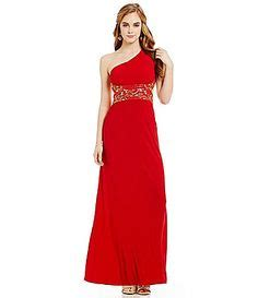 blondie nites one shoulder beaded gown jump embroidered applique open back gown dillards prom