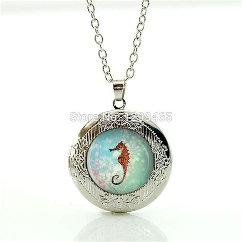 pendants for jewelry seahorse locket necklace photo locket pendant glass gem