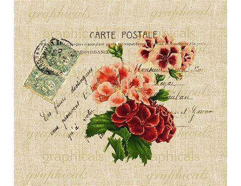 decoupage words decor geraniums instant clip carte postale digital