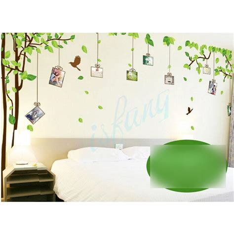 reusable wall stickers tree green leaf bird repositionable reusable vinyl