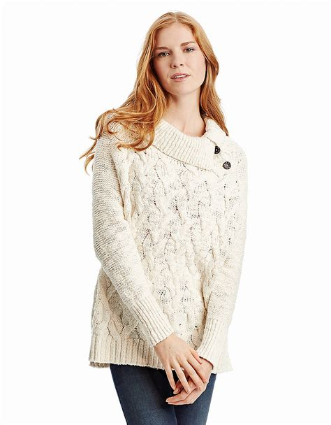 cable knit poncho sweater free cable knit poncho sweater in white ivory lyst