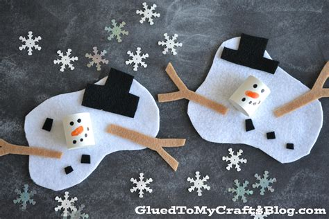 snowman craft felt and craft foam melted snowman kid craft glued to