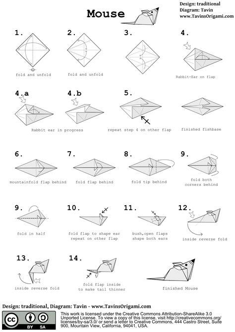origami mouse diagram origami mouse tavin s origami