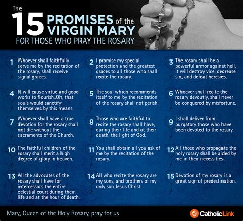 rosary information the 15 promises for those who pray the holy rosary in one