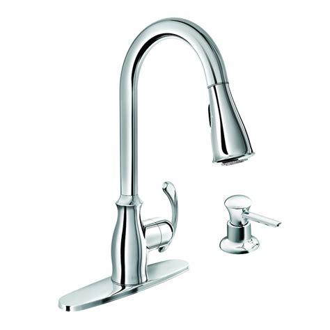 chrome kitchen faucet shop moen kipton chrome 1 handle deck mount pull