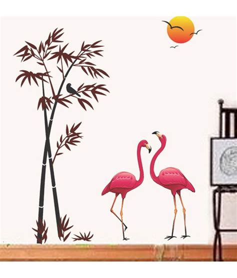 Decorative Stickers For The Wall stickerskart wall stickers pink flamingos amp bamboo at