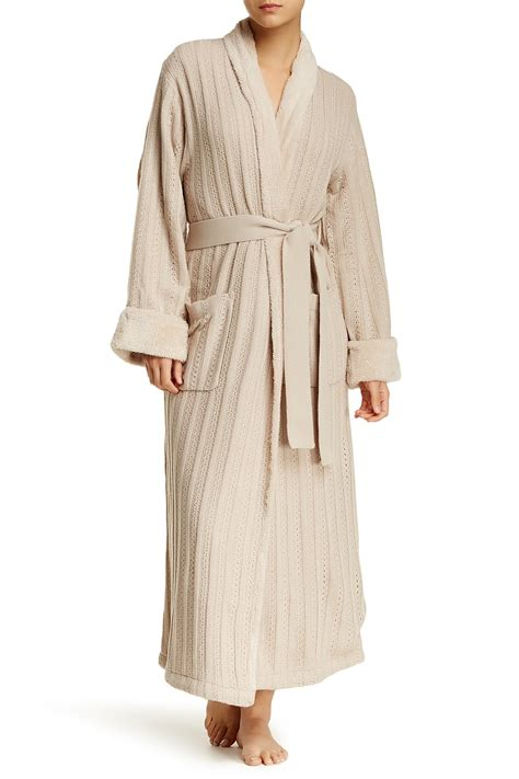 cable knit robe natori faux shearling lined cable knit robe nordstrom rack
