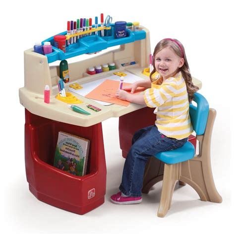 play desk activity desk table chair set craft toddler play