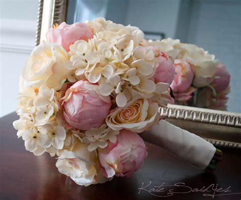 shabby chic bouquet shabby chic wedding bouquet peony and hydrangea ivory