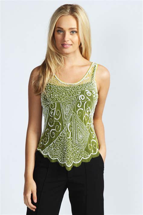 beaded tops boohoo sleeveless beaded and sequin mesh top ebay