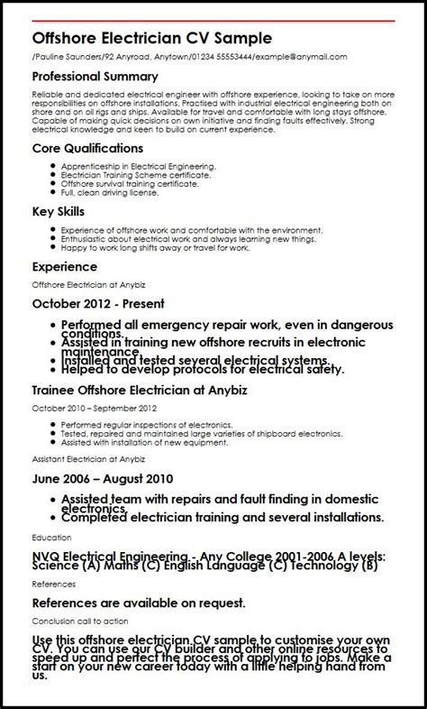 offshore electrician cv sample myperfectcv