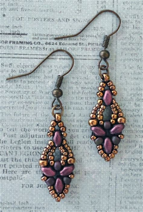 free beaded earring patterns s crafty inspirations free beading pattern elinor