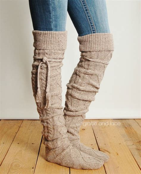 thigh high cable knit socks alpine thigh high slouch sock barley brown thick cable
