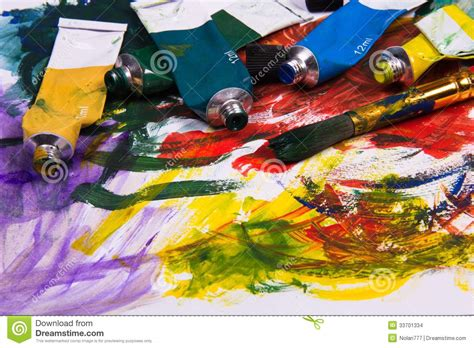 acrylic painting material supplies stock images image 33701334