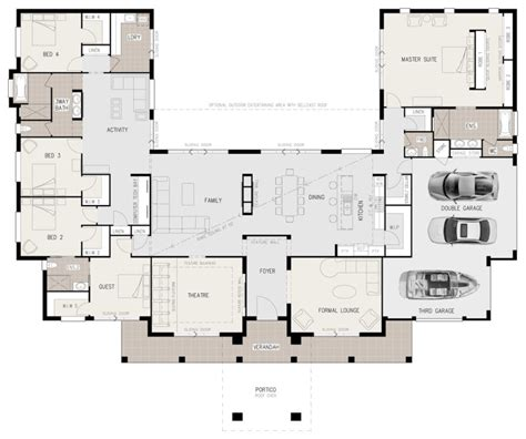 5 bedroom floor plans australia floor plan friday u shaped 5 bedroom family home