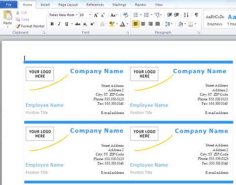 How To Make Business Cards With Microsoft Word 187 Software