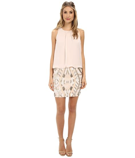 blouson beaded dress aidan mattox halter blouson dress w beaded skirt in pink
