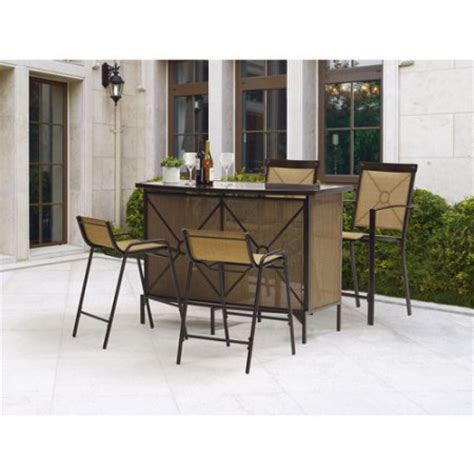 mainstays wicker 5 patio dining set seats 4 mainstays palmerton landing 5 bar height patio