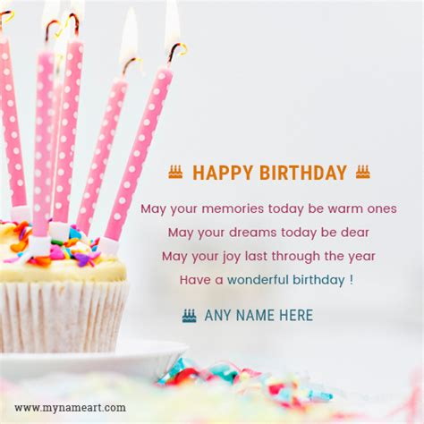 make a birthday card with name write name on candle cake birthday card wishes greeting card