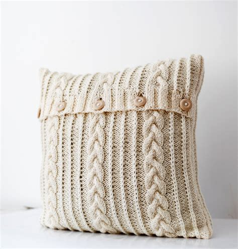 knitted pillows cable knitted pillow wool cover milk white decorative
