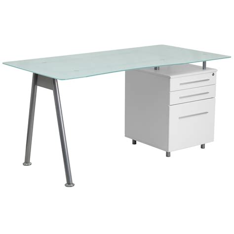computer desk with glass top white computer desk with glass top and three drawer