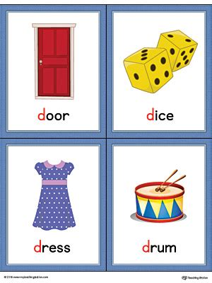 letter cards for words letter d words and pictures printable cards door dice
