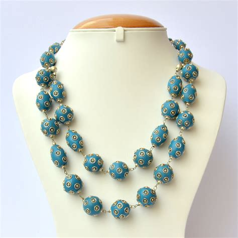 Handmade Necklace With Blue Metal Balls