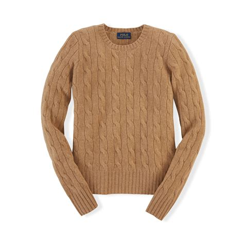 cable knit ralph sweater ralph cable knit sweater in brown lyst