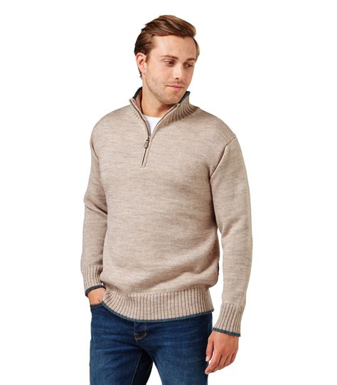 mens knitted sweater woolovers mens wool chunky zip neck jumper sweater