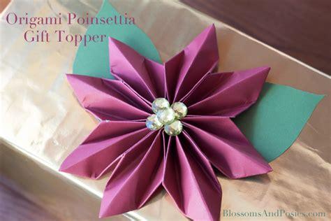 poinsettia origami easy paper flower topper tutorial handmade paper flowers