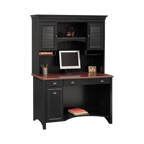 black desk with hutch bush stanford wood computer desk with hutch in black