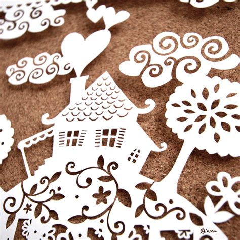 paper cutting craft home sweet home papercut artwork