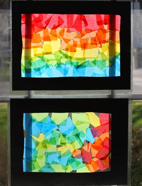 stained glass craft rainbow craft tissue paper suncatcher collages