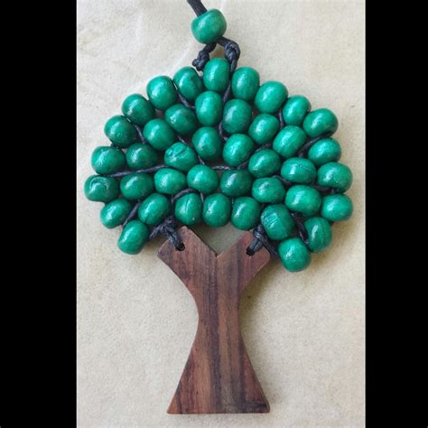 tree of beaded pendant wooden tree of beaded necklace pendant 9 5 cm