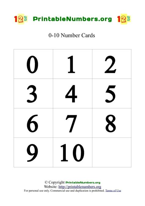number templates for card printable number cards 0 10 printable numbers org
