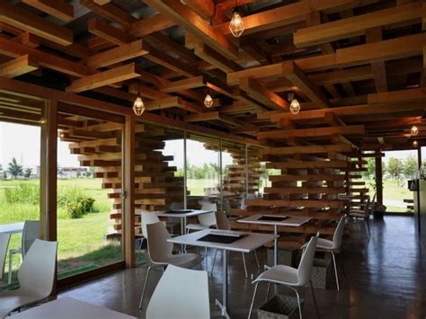 woodwork restaurant modern cafe with unique stacked wood support cafe kureon