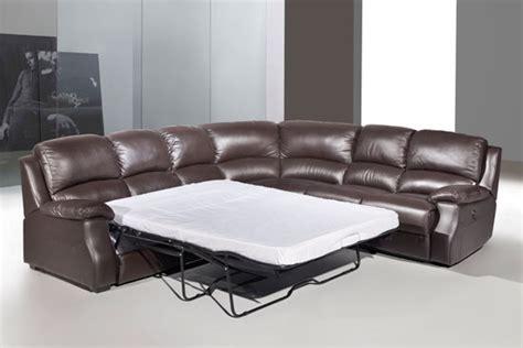 leather corner sofa with recliner esprit leather corner sofa with recliner and sofabed brown