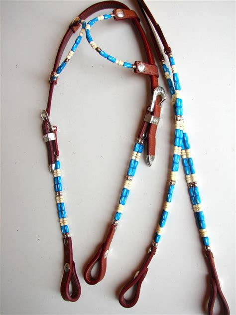beaded headstalls 1 or 2 ear beaded wire western show headstall reins blue